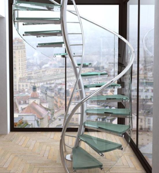 Những mẫu cầu thang kính đẹp nhất hiện nay 6