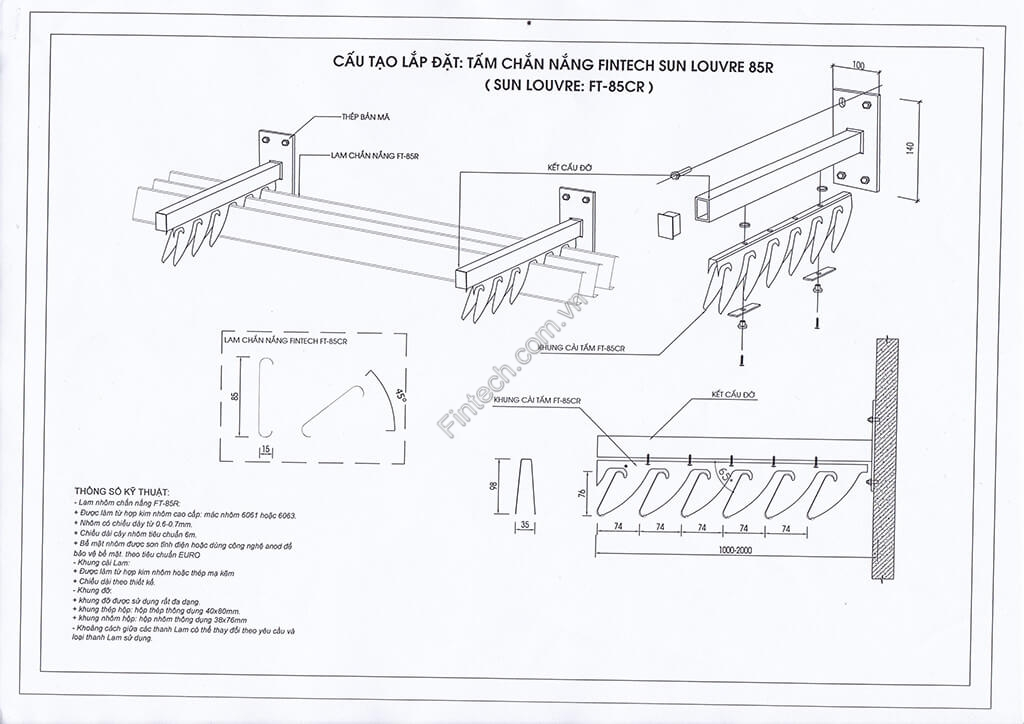 Chi tiết cấu tạo lam chắn nắng 85R