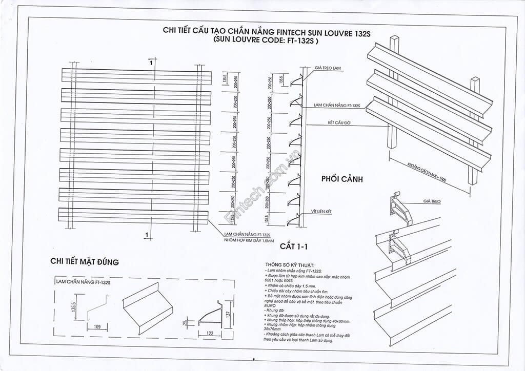 Chi tiết cấu tạo lam chắn nắng 132S