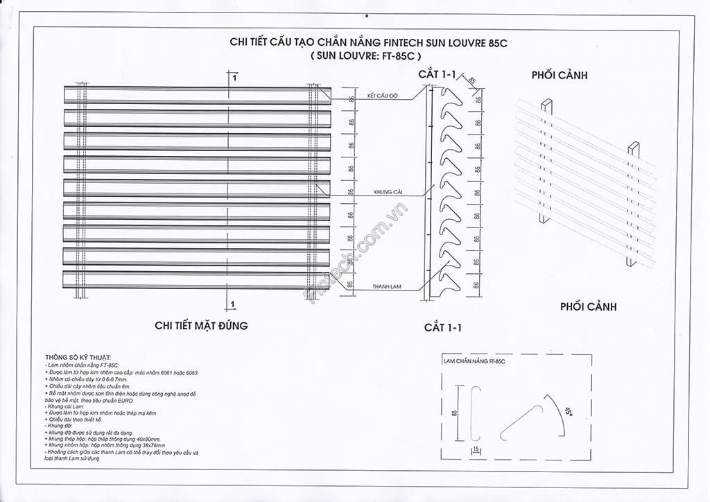Chi tiết cấu tạo Lam chắn nắng hình chữ C ( 85C )