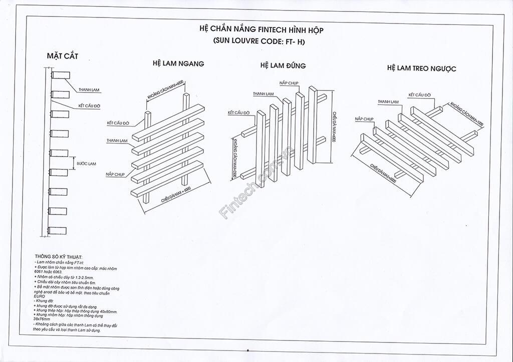 Chi tiết cấu tạo lam chắn nắng hình hộp