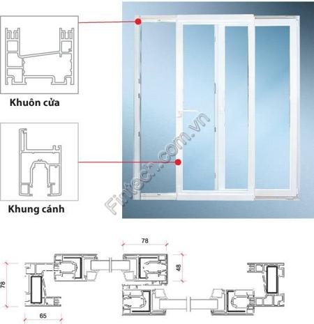 Chi tiết cấu tạo cửa đi nhôm kính cao cấp mở trượt