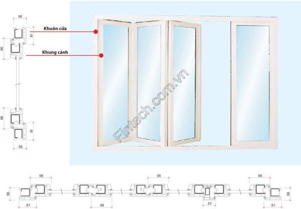 cấu tạo cửa đi nhôm kính xếp trượt