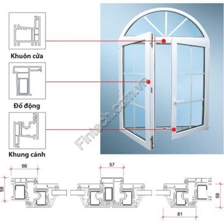 Chi tiết cấu tạo cửa sổ nhôm kính cao cấp mở quay hất vào trong