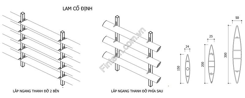 cấu tạo lam nhôm chắn nắng cố định