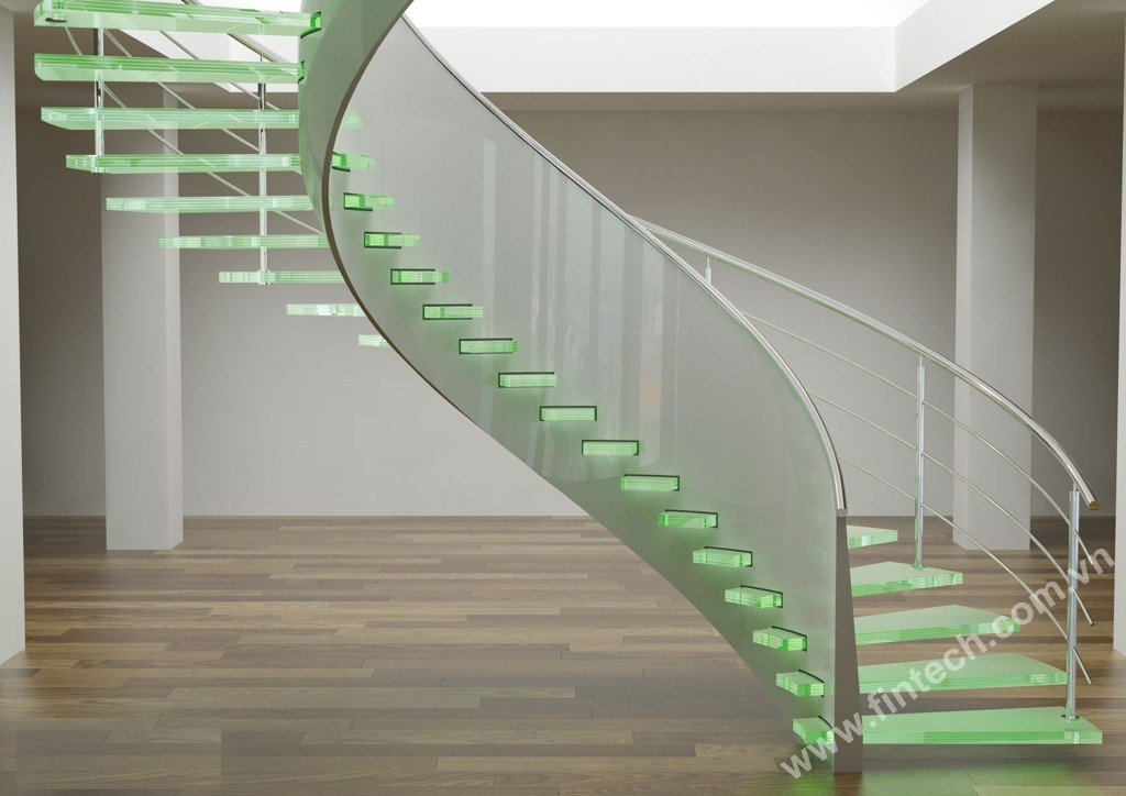 Cầu thang kính cường lực