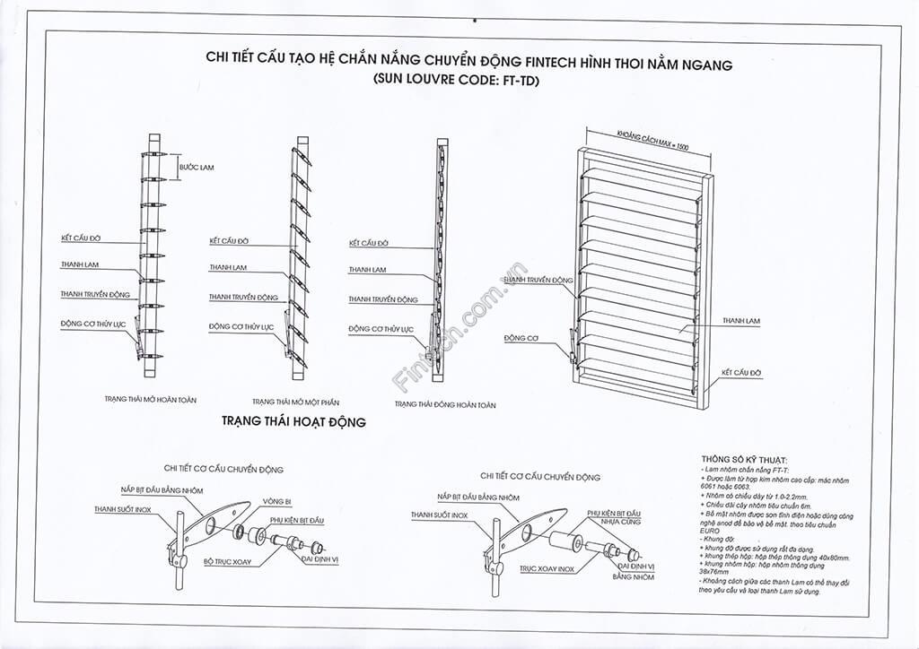 Chi tiết cấu tạo lam chắn nắng chuyển động hình thoi nằm ngang