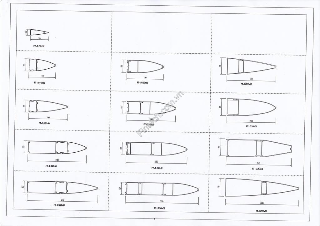Chi tiết cấu tạo lam chắn nắng hình đầu đạn