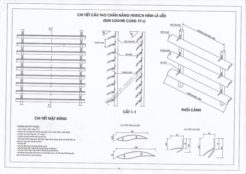 Chi tiết cấu tạo lam chắn nắng hình lá liễu 150, 170