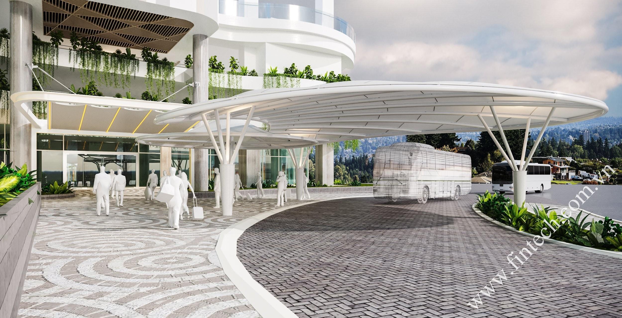 Phối cảnh mái sảnh dự án Citadines Marina Hạ Long 2