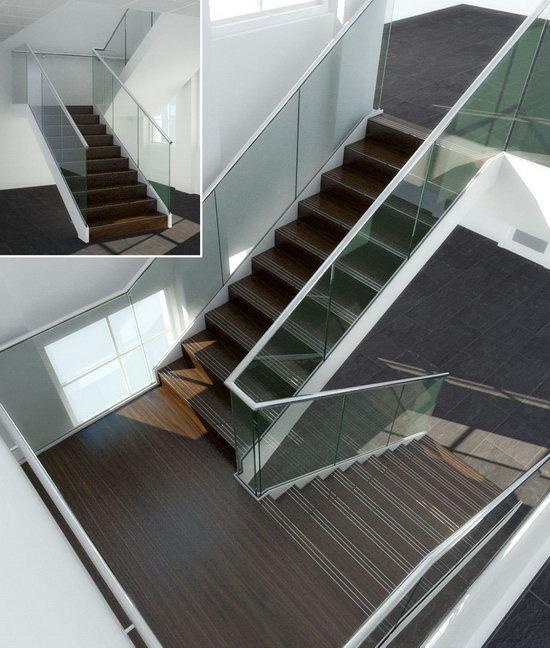 Cầu thang kính kết hợp tay vịn inox hay gỗ: Điểm nhấn tinh tế cho công trình 2