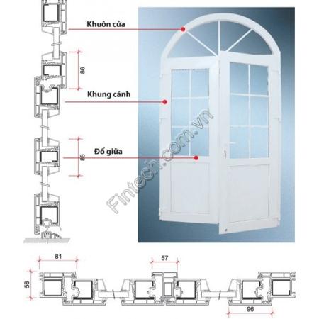 cấu tạo cửa đi nhôm kính mở quay